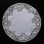 Centrino in lino rose - Punto Burano ad ago - Diametro cm 37
